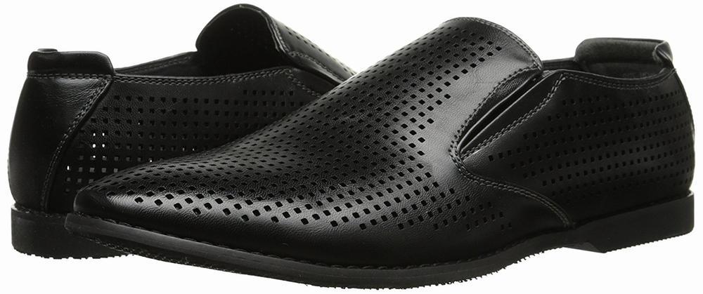 giày lười nam GBX  Krown 13524 da đen đục lổ