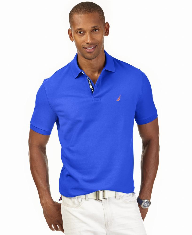 áo polo Nautica nam Performance tay ngắn xanh hàng hiệu