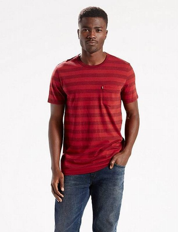 áo thun Levi SUNSET POCKET đỏ tay ngắn cổ tròn