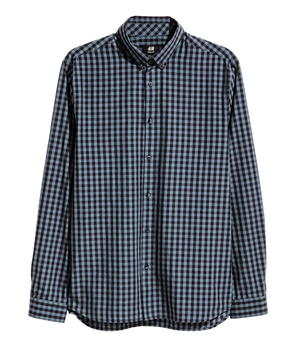 áo sơ mi nam HM Cotton Poplin xanh đen caro tay dài