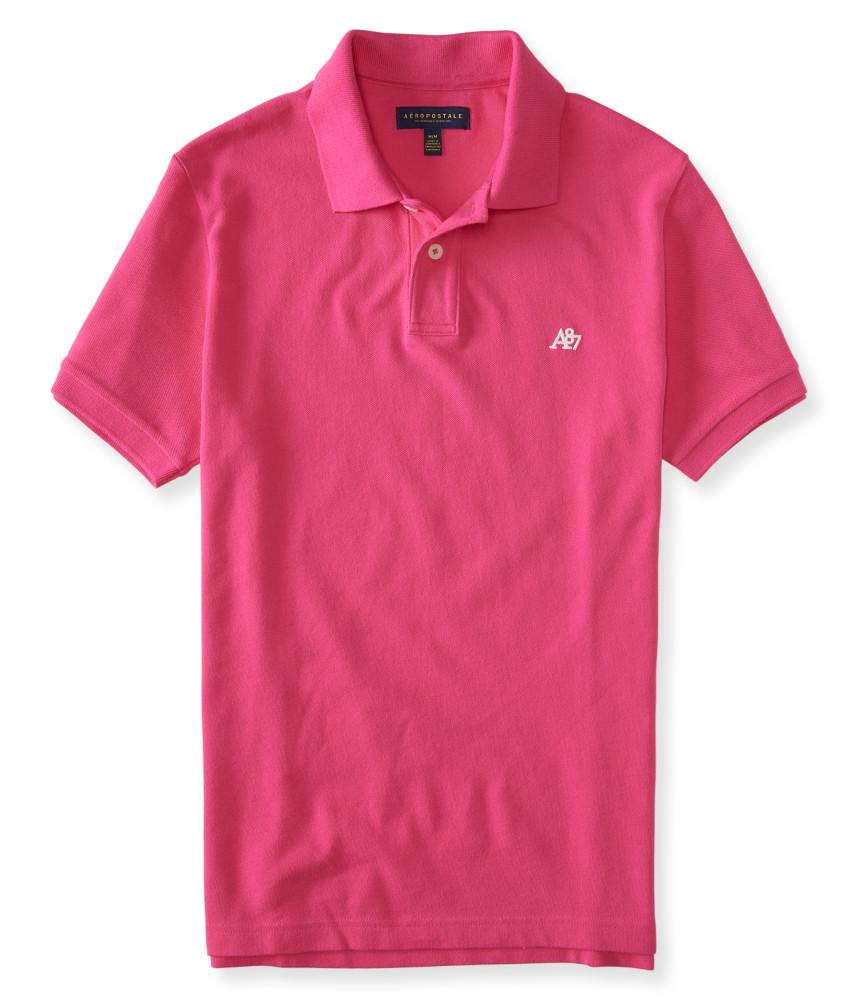 áo polo nam Aero A87 Solid Logo Piqué hồng hàng hiệu