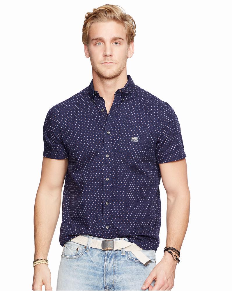 áo sơ mi Ralph Lauren nam Star-Print xanh tay ngắn