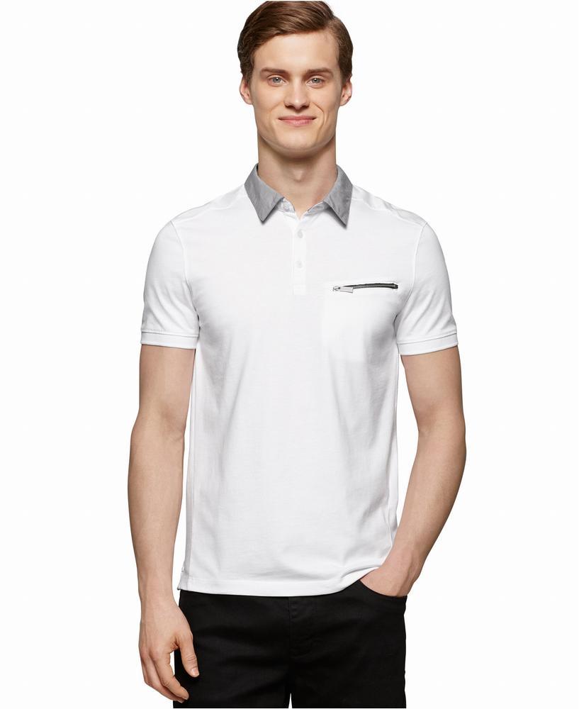 áo thun Calvin Klein nam Mixed-Media Polo trắng tay ngắn
