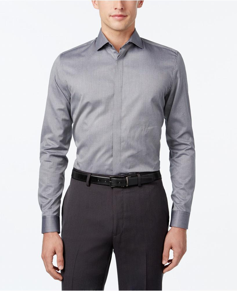 áo sơ mi Calvin Klein nam Neat Jacquard xám tay dài