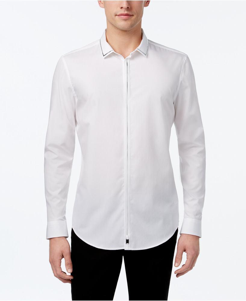 áo sơ mi trắng Calvin Klien nam Metallic-Trim hàng hiệu