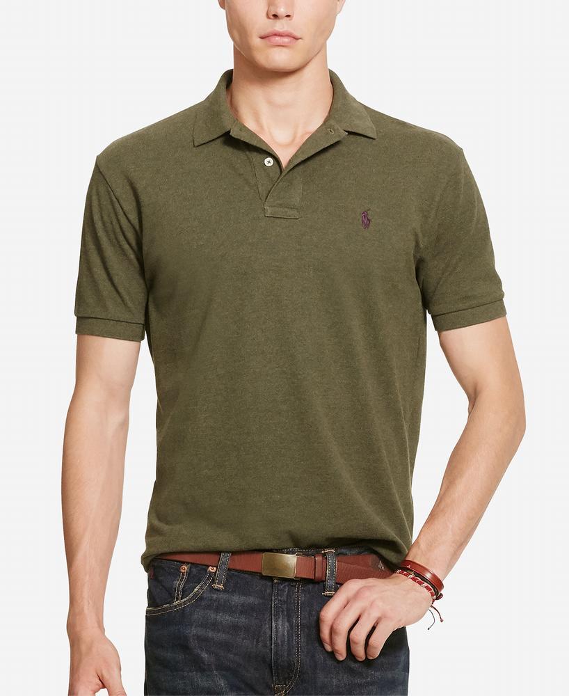 áo thun Polo Ralph Lauren nam Classic Cotton Mesh xanh rêu