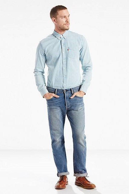 quần jean Levi 501 Original Fit Stretch xanh chính hãng