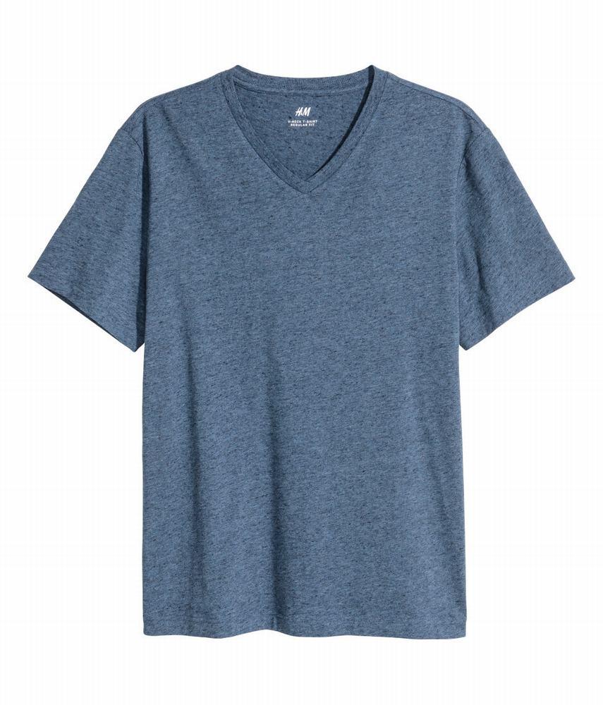 Áo Thun Nam HM Cổ V Dáng Regular Màu Xanh Cổ Điền