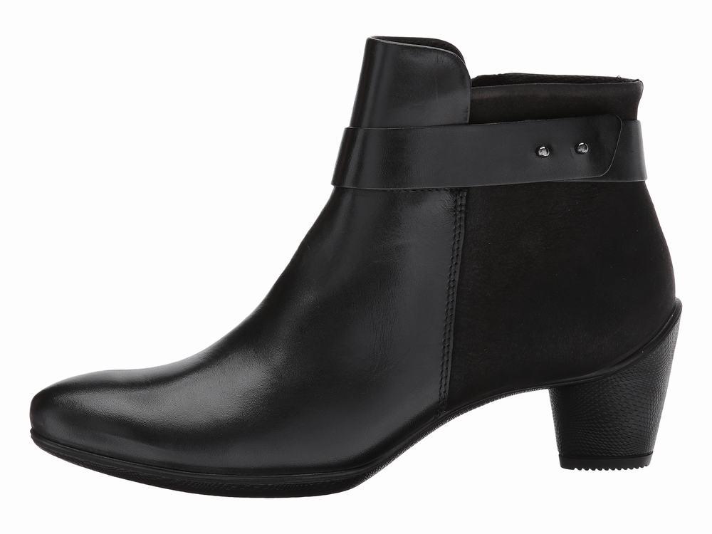 Giày Boot Nữ ECCO Gót Thấp Sculptured Da Đen Hàng Nhập